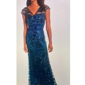Tadashi Shoji Sequin Illusion Lace Blue Dress
